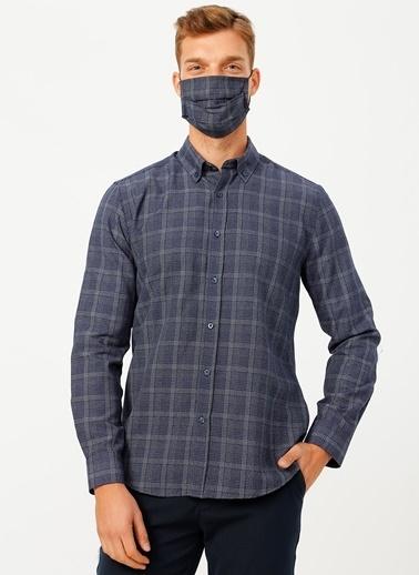 Fabrika Comfort Fabrika Comfort Düğmeli Yaka Ekose Lacivert Gömlek Lacivert